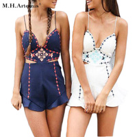 M H Artemis Deep V Neck Embrodery Flower Elegant Backless Jumpsuit Sleeveless Overall Summer FP Style