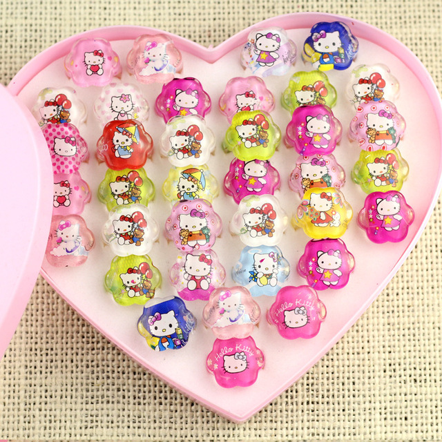 25PCS Baby shower favor for girl Hello Kitty Cartoon Ring kids happy birthday party supplies decoration baptism gift