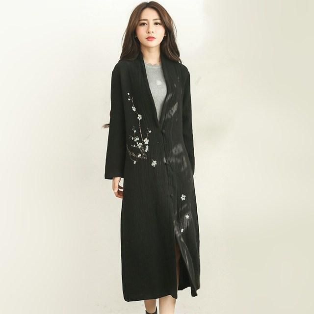 Moda Largo Trench Coat Para Las Mujeres Otoño Abrigos De Primavera Zanja Prendas de Vestir Exteriores Floja Abrigo de Algodón Suave Con El Botón Negro Trench