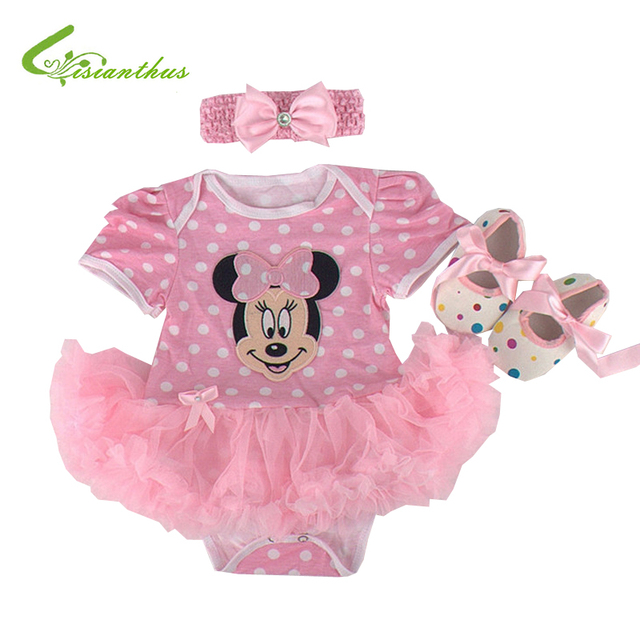7a8307a2283 Baby Girls Halloween Costumes Minnie Mouse Romper Dress + Headband + Shoes Clothing  Sets Bebe Party