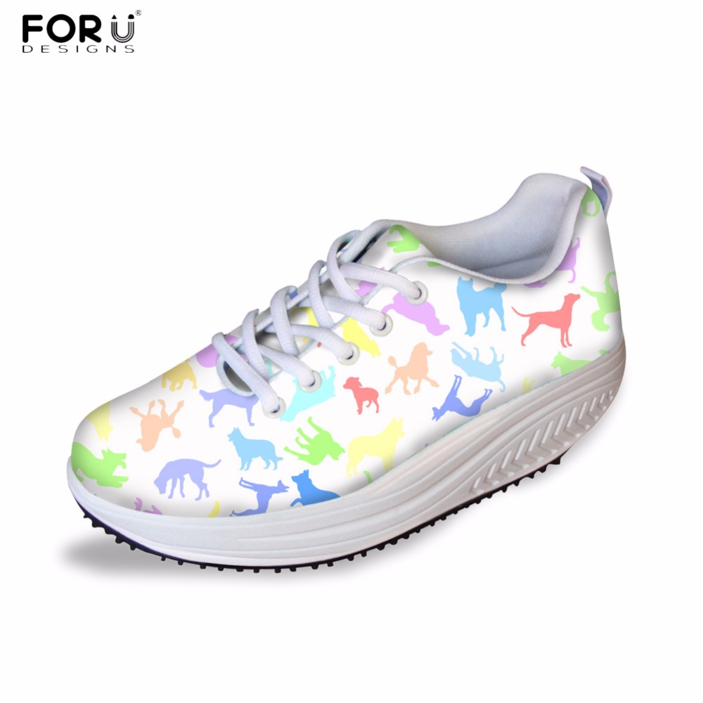d5c98b1c401d8 US $29.99 40% OFF|FORUDESIGNS Health Female Beauty Women Swing Shoes Black  Kawaii Animal Puzzle Brand Design Height Increasing Shoes for Ladies -in ...
