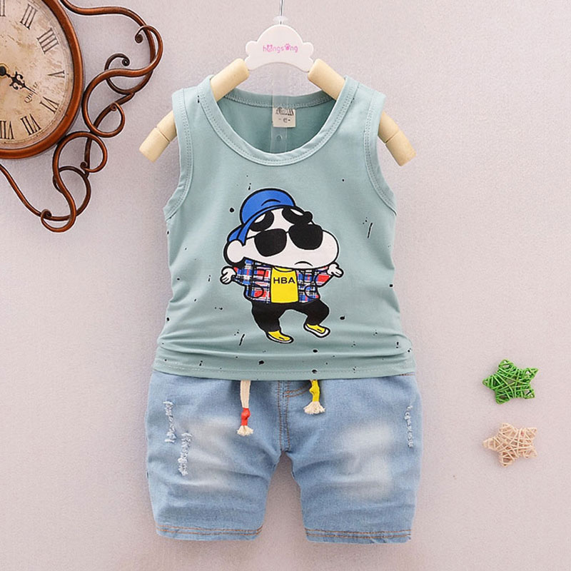 Summer baby boy clothes outfits casual sports suit for infant baby's clothing sleeveless T-shirt + denim shorts suit 2pcs sets