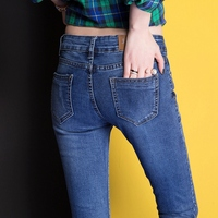 CTRLCITY Blue Jeans Woman Casual Denim Stretch Jeans Skinny Femme Vintage Mid Waist Jeans Women Pencil pants