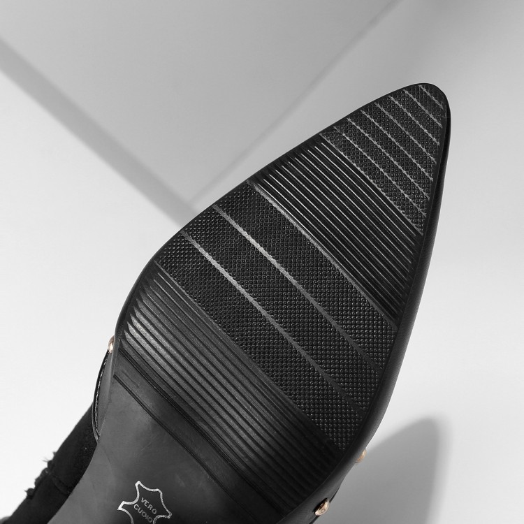 Grande Bottes Et 43 Bout Américain Chaude léopard Européen De La 34 Mode Noir Zipper Noir multi Couleur Rivet Personnalité Pointu Taille rAOqr