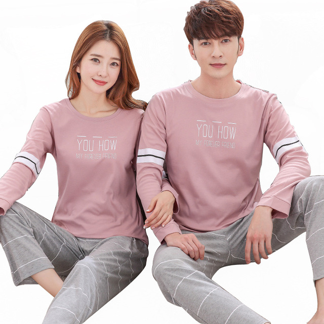 b7d8fd6e53 Couple pajamas suit long-sleeved cotton men and women autumn and winter  cartoon Korean cute