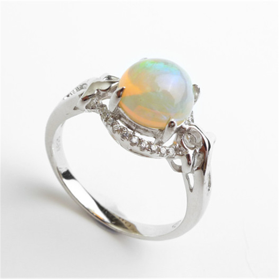 Australia natural fire opal semi precious stone rings for for Precious stone wedding rings