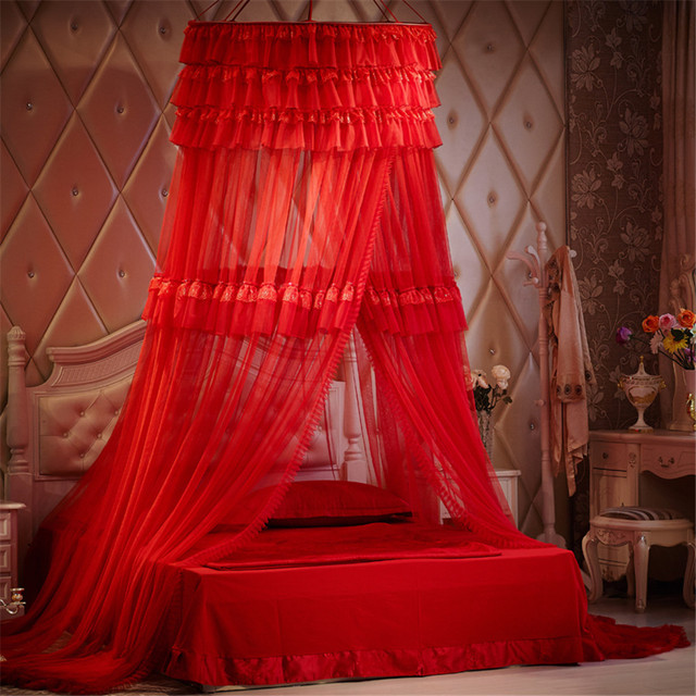 Princess Three Layers Of Lace Round Red Romantic Wedding Mosquito Nets Curtain Dome Bed Canopy Netting
