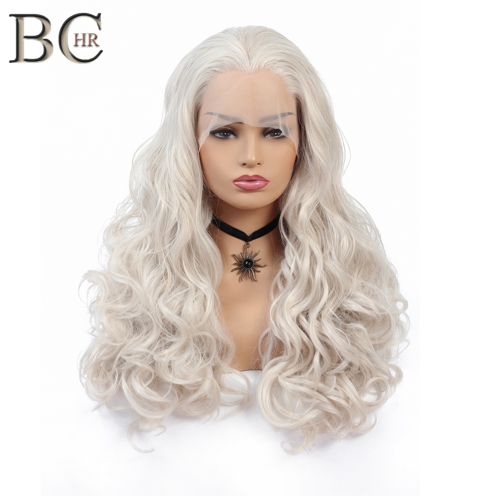 BCHR 22 Inch Handmade White Pink Purple Synthetic Wig Long Wave Lace Front Wig Free Parting Lace Wig For Women
