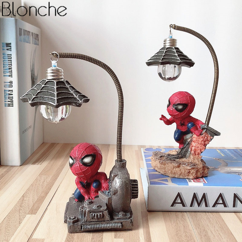 Spiderman Avengers Union Led Night Light Resin Spider Man Lamp For Children Kids Rooms Home Loft Decor Birthday Christmas Gifts