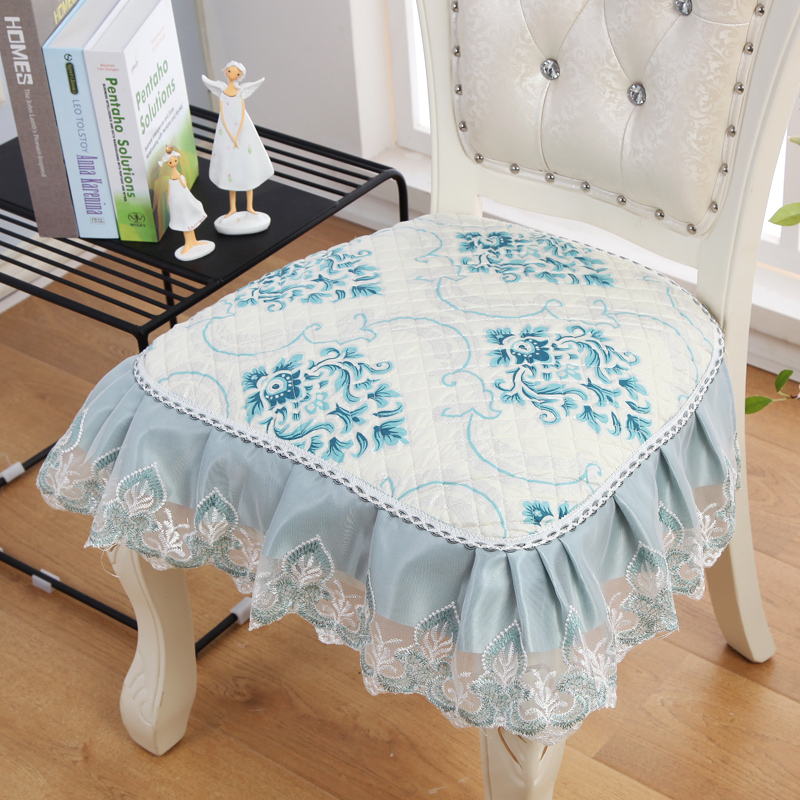 European Cushions Embroidered Decorative 2pcs/lot Four Strap Skid Stool Cushion Cotton Seat Chair Four Seasons Dining Chair Pad