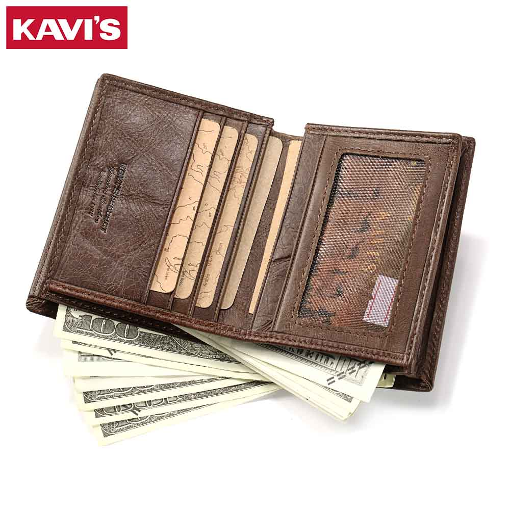 KAVIS Genuine Leather Men Wallets Coin Purse Walet Portomonee PORTFOLIO Male Cuzdan Card Holder Perse magic Fashion Slim Bag