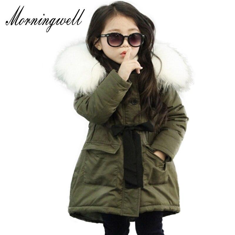 Morningwell brand baby girls parkas clothes winter warm jackets for girls big fur collar hooded long coats waist kids outerwears