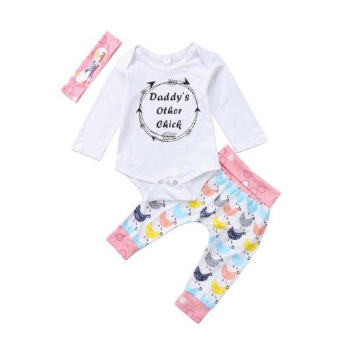 Natal Do Bebê Meninas Infantil outra garota do papai Romper Bodysuit Calças Leggings Outfits Set Roupa