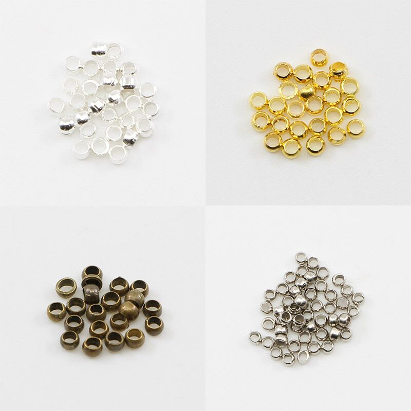 500pcs/lot Gold Silver Copper Ball Crimp End Beads Dia 2 2.5 3 Mm Stopper Spacer Beads For Diy Jewelry Making Findings Supplies