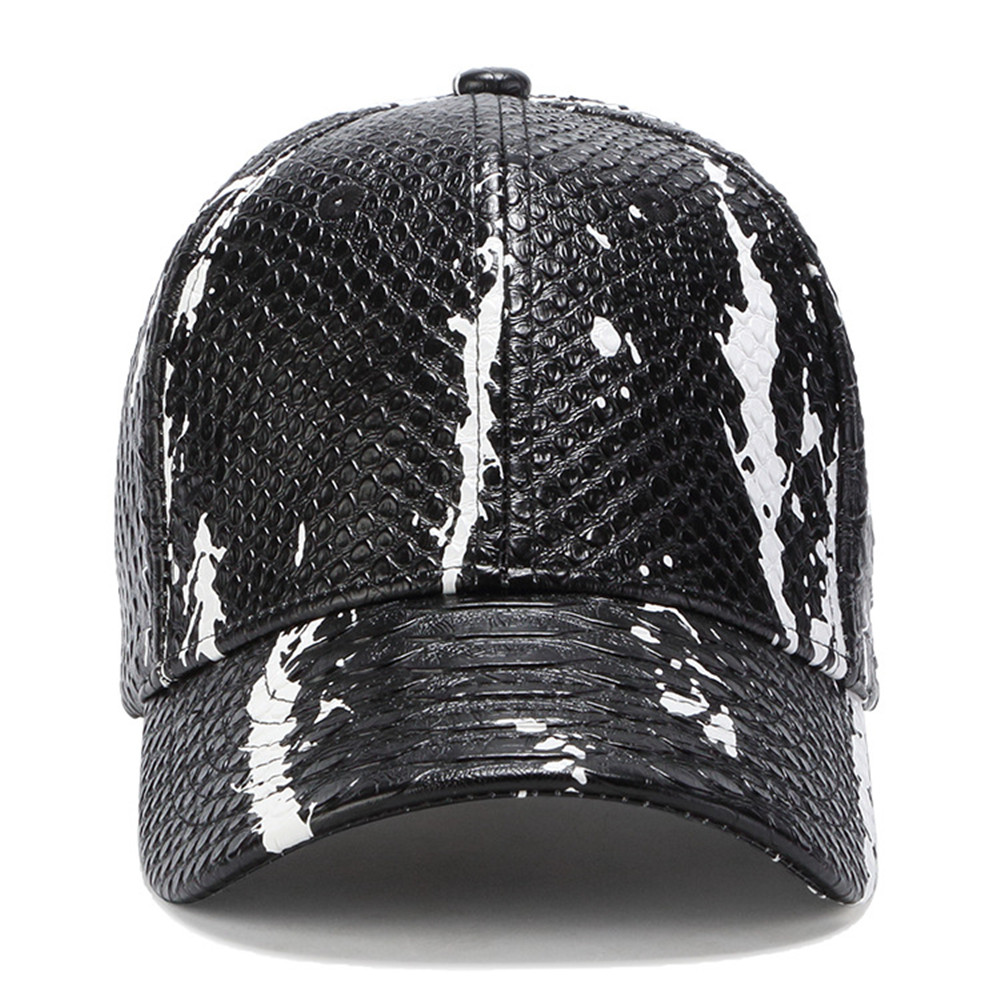 6a0dcfe1 Men New Cool Baseball Caps Hat Men Black Color PU Leather Snake Skin Logo  Men Women Uisex Sport Adjustable Hats Cap-in Baseball Caps from Apparel ...