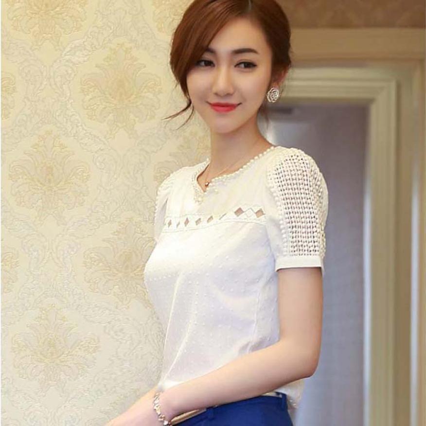 Hot Women Tropical Blusa Lace Short Sleeve Shirt V Neck Doll Chiffon Tops Women Blouses Women's Clothing