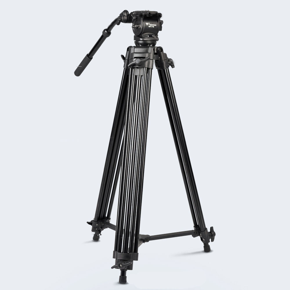 DHL New Arrivals Quality WF718 Professional Heavy Duty Video Camcorder Tripod DSLR Camera Tripod with Fluid Head for Canon Nikon puluz heavy duty video camera tripod action fluid drag head with sliding plate for dslr