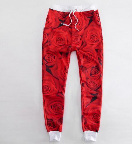 Dos Homens novos da Chegada/Mulheres Basculadores Calças 3D Impresso Moda Red Rose Flor Floral Calça Casual Sweatpants Harem Pants Streetwear