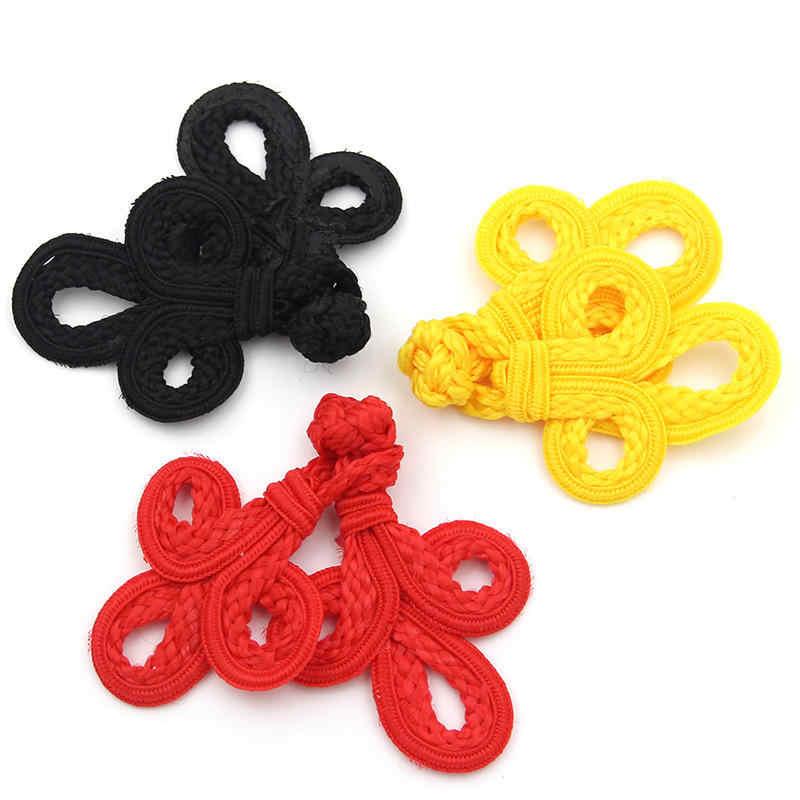 DoreenBeads китайский узел, сделанный вручную пуговицы лист узор красный желтый черный Cheongsam Тан костюм аксессуары для шиться Сделай Сам 8*6 см 1 пара
