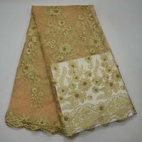 Gold African French Lace Fabric 2017 High Quality African Tulle Lace Fabric For Wedding Beaded French
