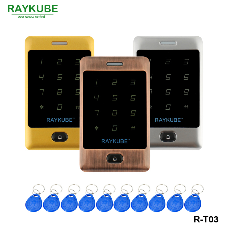 RAYKUBE Metal Access Controller Keypad With Touch RFID Reader 10Pcs Keyfobs For Access Control System + Waterproof Cover R-T03 free shipping waterproof metal rfid access control touch keypad with green backlight and wg26 34 for door access control system