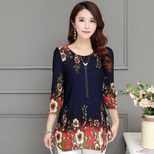 Summer Spring Floral Printed Blouse Summer Spring Slim Chiffon Blouses Female O-Neck Shirt Plus Size Tops Korean Fashion Tunic