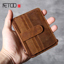 AETOO Retro Head cowhide card pack Leather Doka Wallet