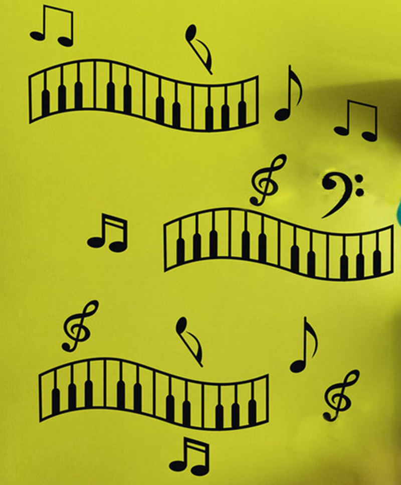New Design Piano Music Vinyl Wall Sticker The Musical Note Wall ...