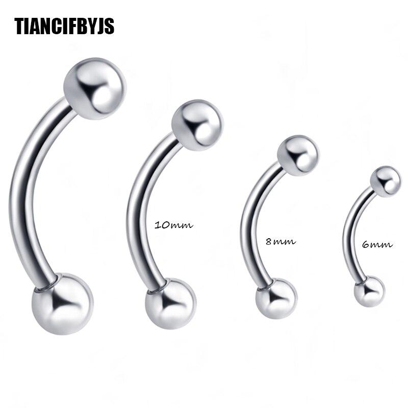 Tiancifbyjs Großhandel 100 Teile/los Augenbrauering Bananen Ring 6/8/10mm Augenbraue Bar Piercing Schmuck 6/8/10mm Mix Tragus Ohrring Schuhe