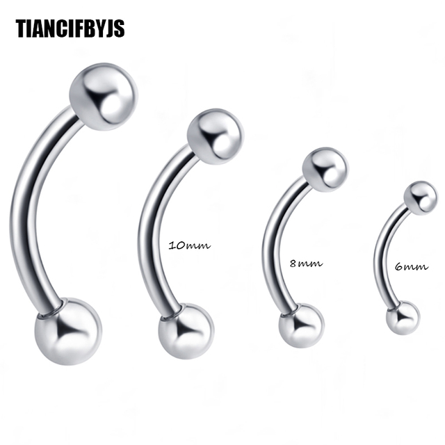Us 11 66 19 Off Tiancifbyjs Wholesale 100 Pcs Lot Eyebrow Ring Banana Ring 6 8 10mm Eyebrow Bar Piercing Jewelry 6 8 10mm Mix Tragus Earring In Body