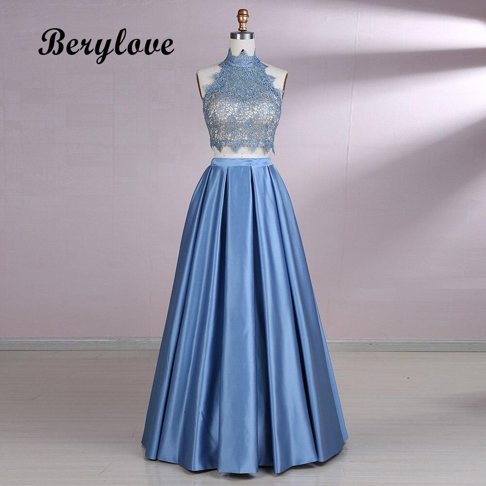 BeryLove dos piezas azul vestidos de baile 2018 vestidos de noche de - Vestidos para ocasiones especiales