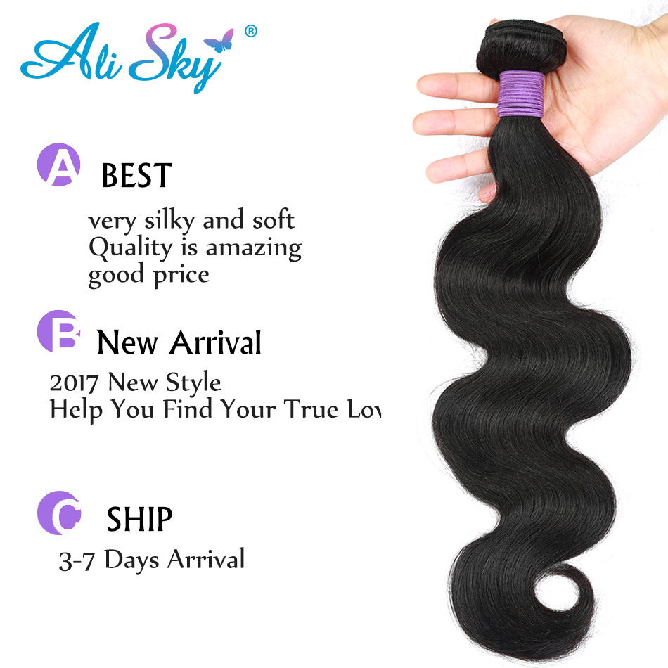 Ali Sky Hair Brazilian Body Wave Hair Extensions 10-26 inch 100% nonremy Human Hair Bundles color 1b can be curled no shedding
