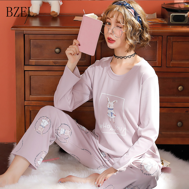 BZEL Winter Women   Pajama     Sets   Female Cotton Round Neck Cute Cartoon Rabbit Home Service Winter Warm Suit Sleep Lounge Lingerie