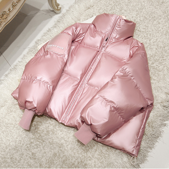2019 Female Glossy Down Parka Winter Jacket Women Large Sizes Thick Down Jacket Loose White Duck Down Coat Waterproof Outerwear 2