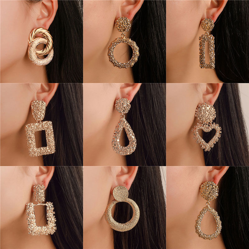 Metal Earrings Bohemian Jewelry Geometric-Statement Silver Gold-Color Vintage Women Brand