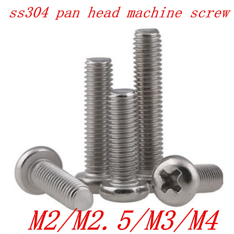 50pcs/lot M2 M2.5 M3 M4 DIN7985 GB818 304 Stainless Steel Cross Recessed Pan Head PM Screws Phillips Screws 50pcs m2 m2 5 m3 m4 iso7045 din7985 gb818 stainless steel cross recessed pan head screws phillips screws bolts
