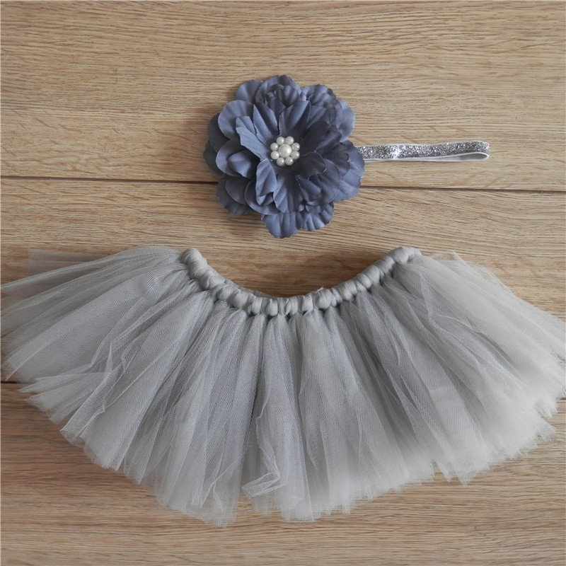 Gray Newborn Headdress Flower Tutu Clothes Skirt Baby Girls Photography Prop Outfits Birthday Photo Shoot Gift