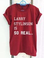 Larry Stylinson Hemd One Direction 1D ist SO REAL Crimson Rot Grün Frauen T-shirt T Kurzarm T-Shirt-C815