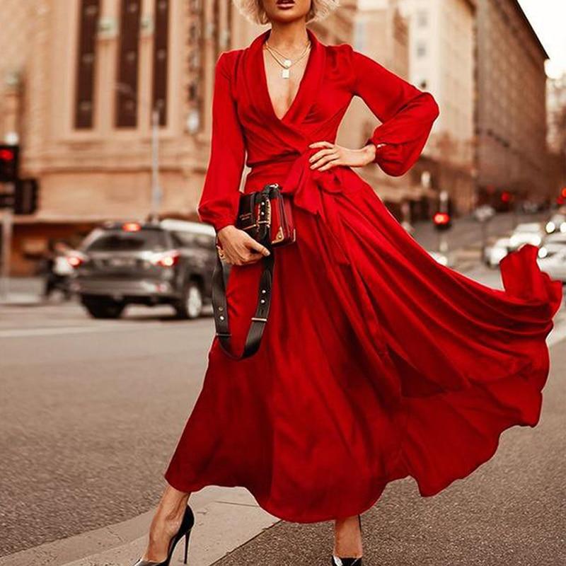 Grande Taille Élégante Robe De Soirée Rouge Soirée 2019 Violet Profond V Cou Sexy Robe grande taille décontracté À Manches Longues Maxi Robes pour Les Femmes