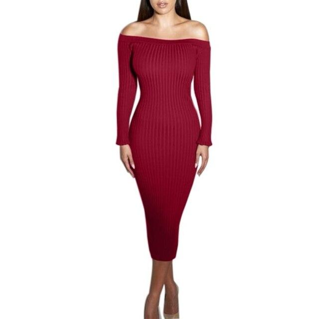 Wanita Gaun Pesta Musim Gugur Bodycon Dresses Off Shoulder Slash
