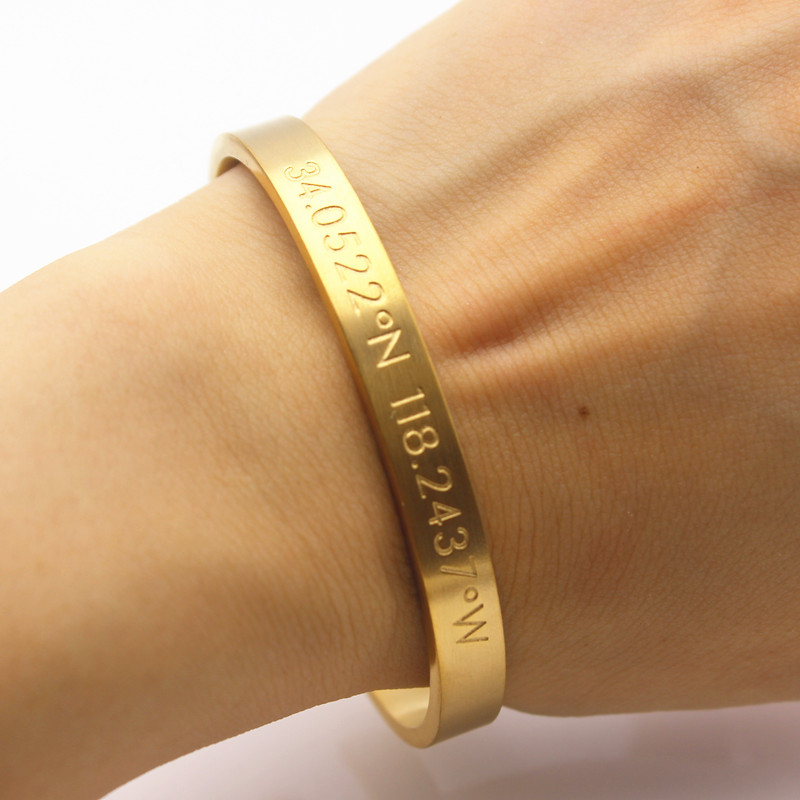 Luxury Famous Brand Stainless Steel Men Women Bracelet Engraved Coordinate Cuff Bangle Hand Stamp Initial In Bangles From Jewelry Accessories On