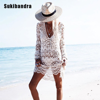 Sukibandra Sexy Ladies White Crochet Summer Beach Lace Dress Women Long Sleeve Hollow Out Cover Up