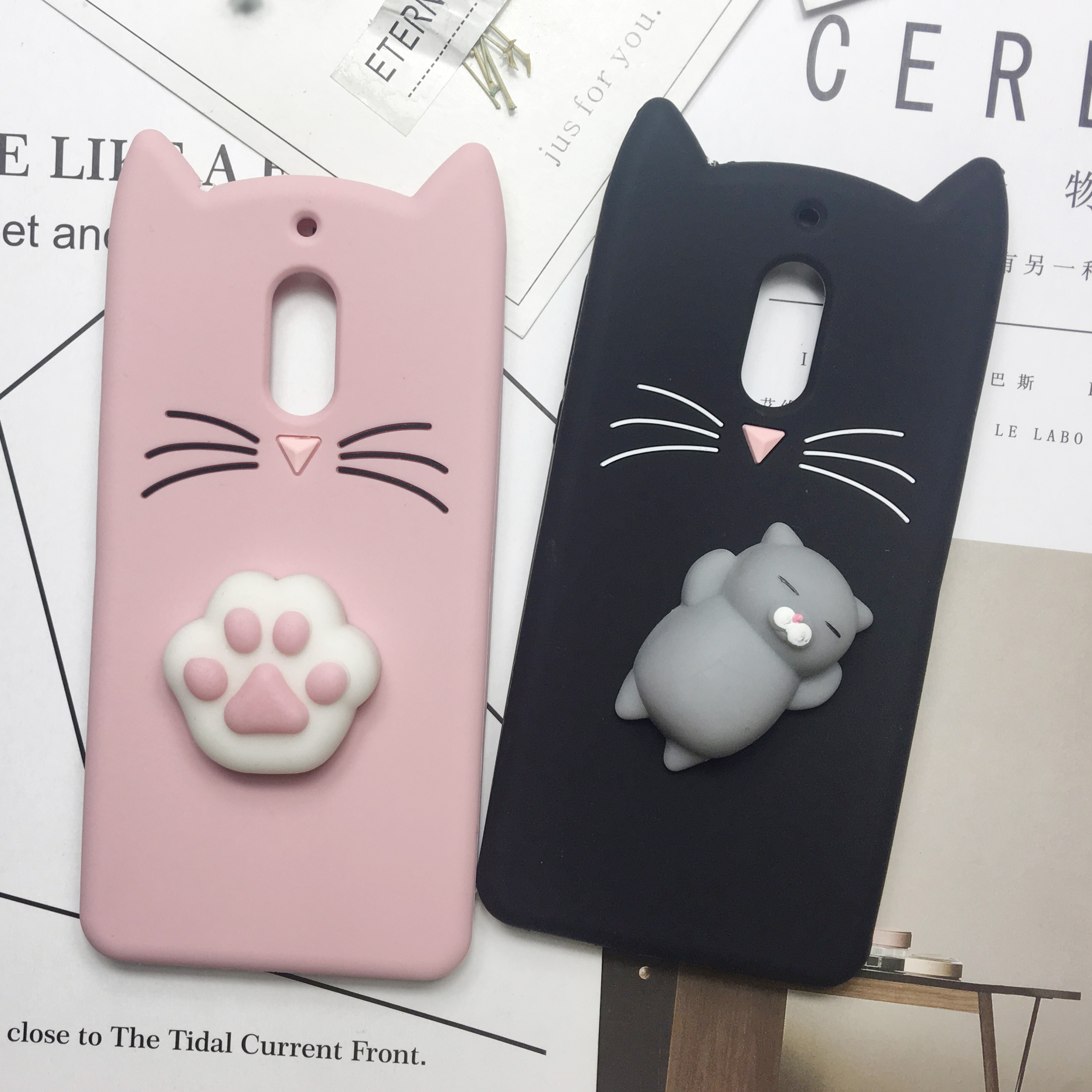 Cute 3D Cartoon Squishy beard Cat For Nokia 6 Silicone Cases For Nokia 2 Girl Style