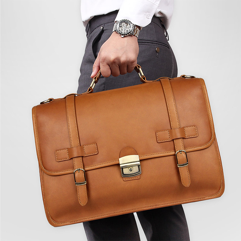 Nesitu High Quality Brown Genuine Leather Office Men Briefcase Messenger Bags Business Travel Bag 14'' Laptop Portfolio M7397