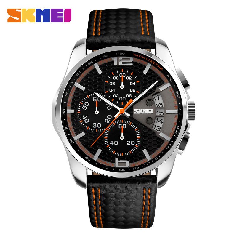 Prix pour 2017 SKMEI Hommes Chronographe Montre Sport Montres En Cuir de Quartz-Montre Étanche Horloge Date Hommes Montre-Bracelet relogio masculino