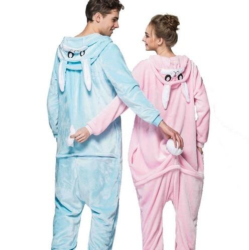 590660910e HKSNG Pink Blue Bunny Rabbit Kigurumi Winter Adult Animal Cartoon Cute  Christmas Pajamas Family Onesies Cosplay Costumes Pyjamas-in Anime Costumes  from ...