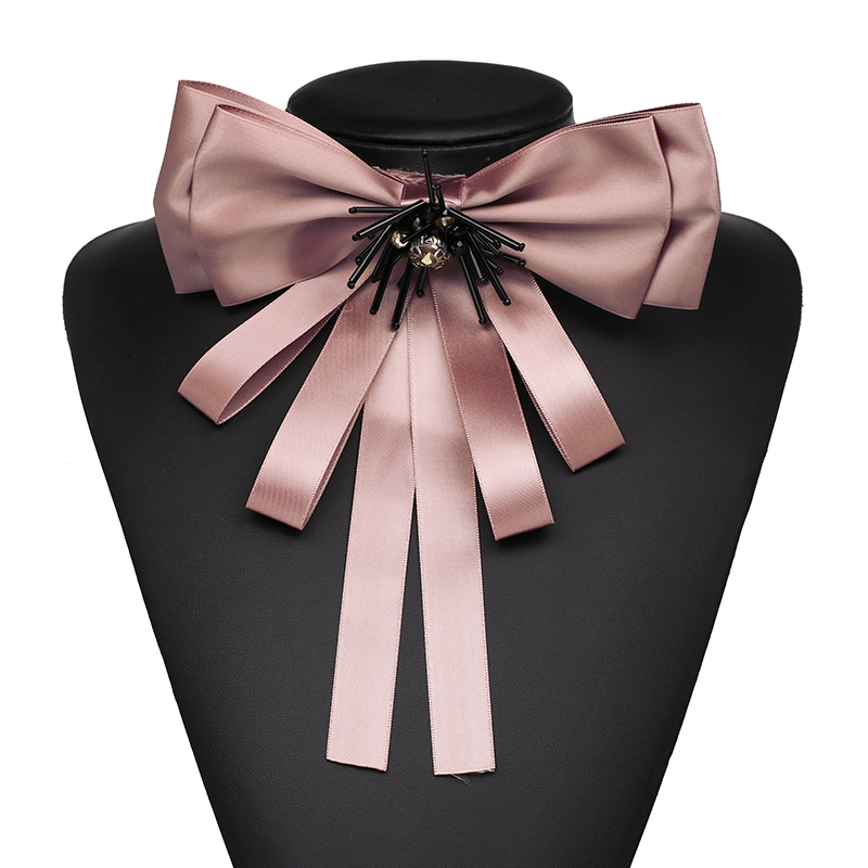 FASHIONSNOOPS New Classic Cloth Clip Women Tie Bow Brooches Hot Fashion Lovely Bowknot Charming Statement Scarf Brooches Pins