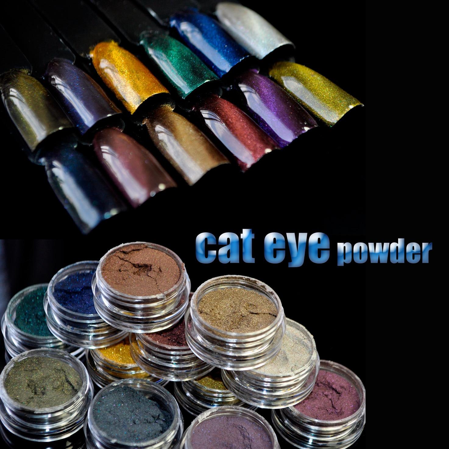 새로운 12 개/키트 3D 효과 고양이 눈 자석 매직 미러 분말 먼지 DIY UV 젤 폴란드어 네일 아트 반짝이 안료 매니큐어 도구