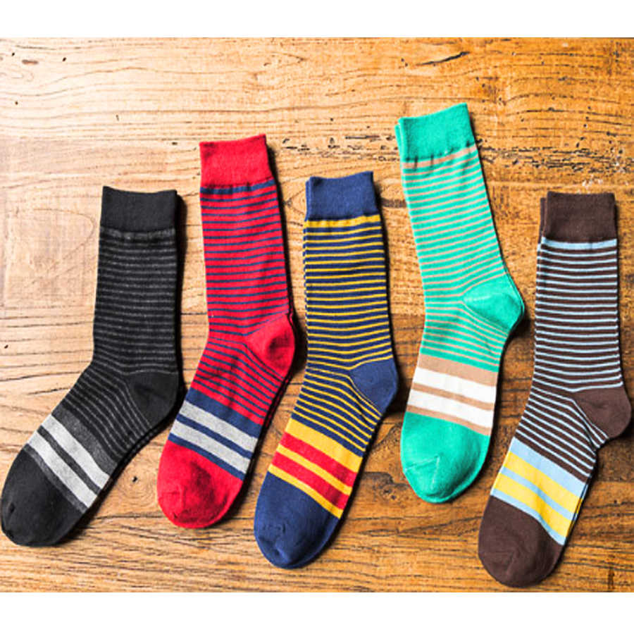 Men Cotton Socks Casual Colorful Striped Patterned 5 Colors Crew Socks Vintage College Style Calcetines Hombre Size 38-44