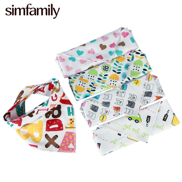 [simfamily] 1pc Baby bibs High quality triangle double layers Animal Print baby bandana bibs cotton baberos Cartoon Character